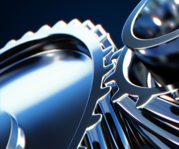 3d illustration of gear metal wheels close-up