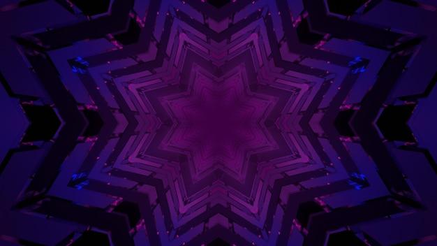 紫の星型パターンの3dイラスト幾何学的な背景