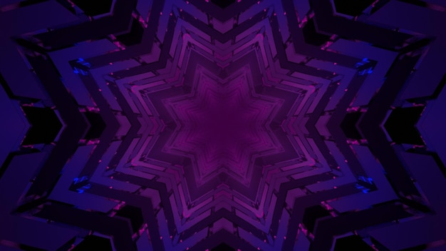3d illustration geometric background of violet star shaped pattern