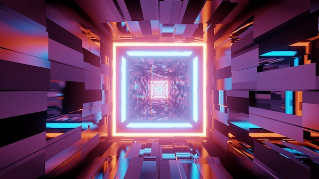 3d illustration of geometric labyrinth with colorful neon illumination reflecting in textured walls as abstract
