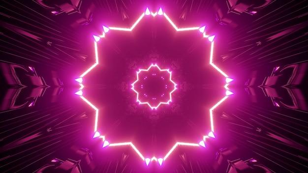 3d illustration of geometric pink corridor