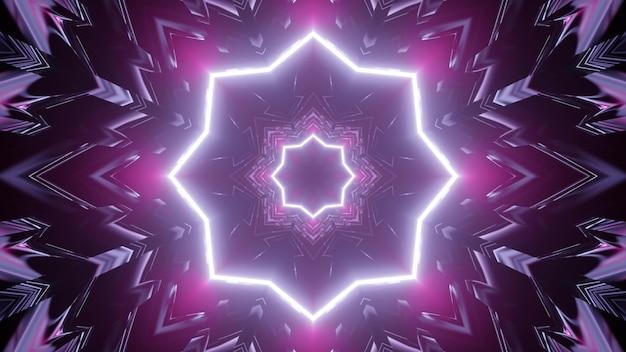 3d illustration of geometric purple corridor
