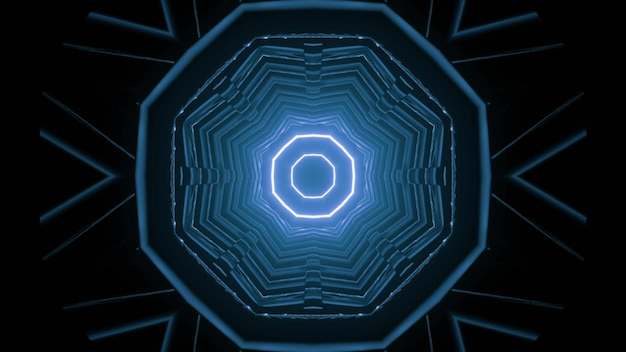 3d illustration of geometric tunnel in shape of circle