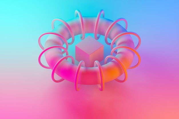 3d illustration of geometric volumetric shapes, a cube inside the arc with hoops with a shadow under a blue-pink neon color. optional construction