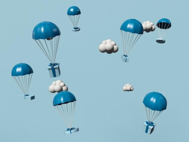 3d иллюстрации. подарочные коробки летают в небе с парашютами. интернет-магазин и концепция службы доставки.
