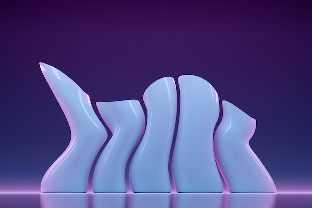 3d illustration glass white pipes of an unusual shape, bent in different directions, stand in a row on a purple-pink background