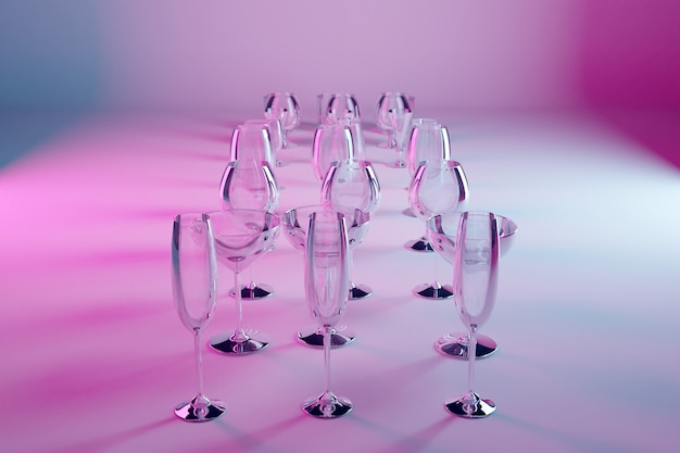 3d illustration glasses for champagne, whiskey, cognac, martini, small glasses  on a pink isolated background