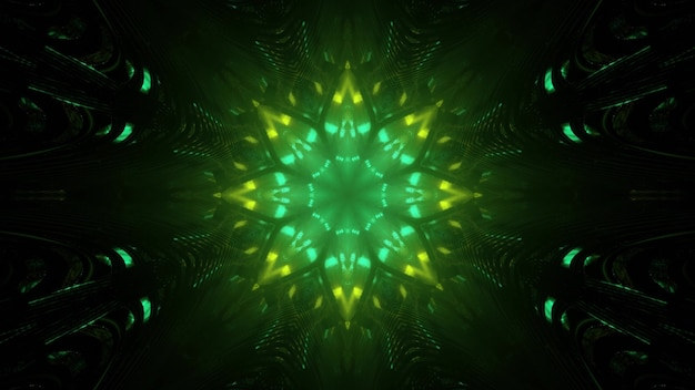 3d illustration of gleaming green neon geometric floral ornament with light reflections as abstract futuristic background
