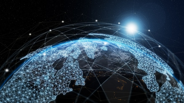 3d иллюстрации глобальная современная творческая коммуникация и карта сети интернет