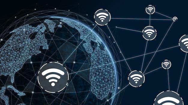 3d 그림 글로벌 현대 창조적 인 커뮤니케이션 및 인터넷 네트워크지도