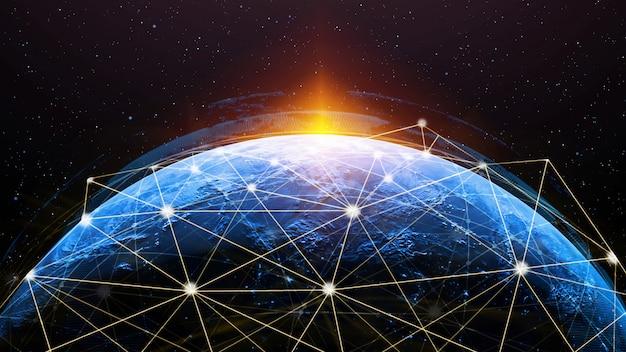 3d иллюстрации глобальной современной творческой коммуникации и карта сети интернет