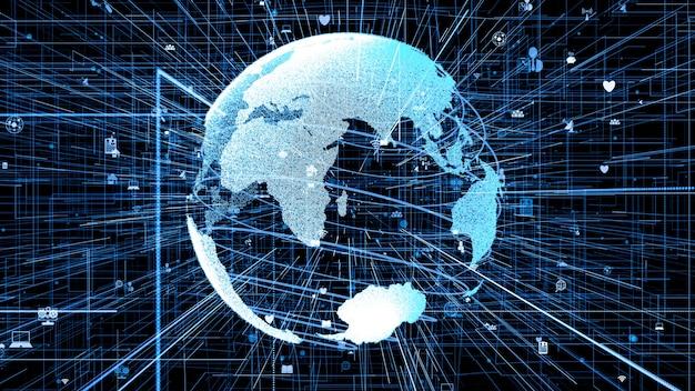 3d illustration of global online internet network concept