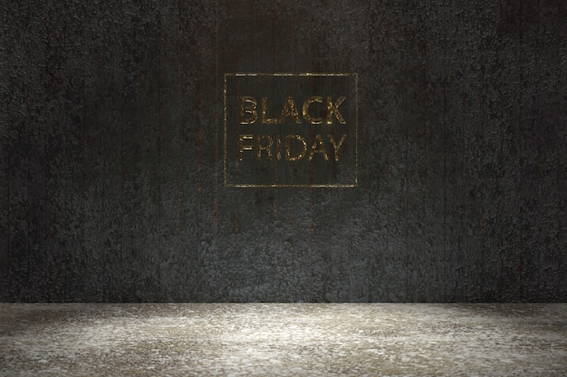 3d illustration. gloden black friday font on black wood wall and wood floor . give voucher, banner, poster or background, paper art and craft style