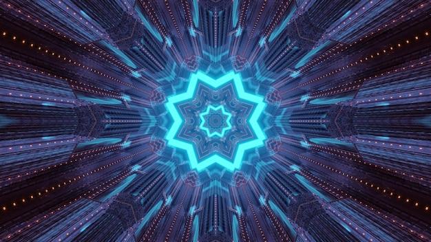 3d illustration of glowing kaleidoscope pattern