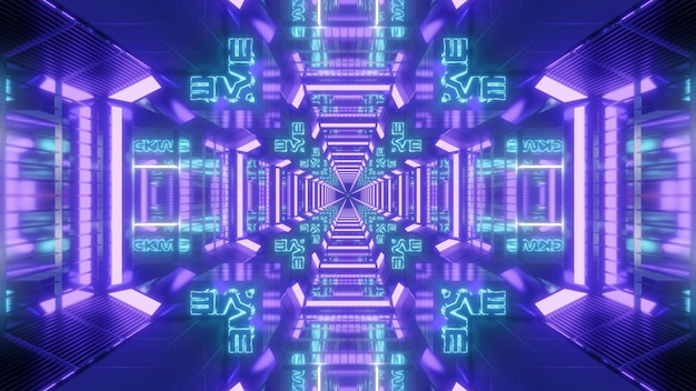 3d illustration of glowing neon colorful cross shaped sci fi tunnel with reflection effect for futuristic technology concept background design