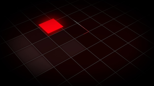 3d illustration of a glowing square in a grid
