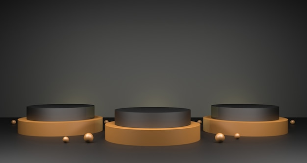 3d illustration of gold and dark podium product display. luxury beauty & fashion concept