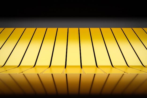 3 dイラストゴールド高級エレガントなスタジオの台座の背景。金属化されたシーン。赤外線ヒーターの配線パターン。抽象的な幾何学的なカラフルなパターン