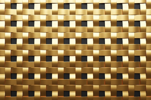 3d illustration of gold metallic wall stripes . set of squares on monocrome background, pattern. geometry  background, pattern