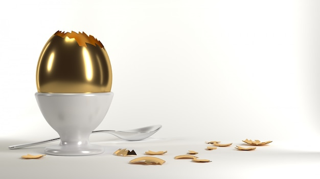 3d illustration. golden egg on the table. food products and diet. benefit for health