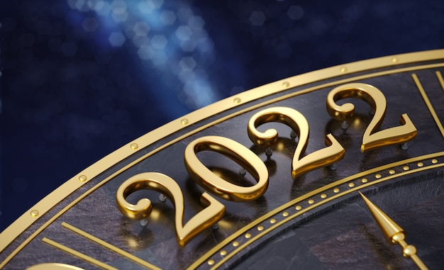 3d 그림입니다. 황금 숫자 2022 클로즈업입니다. 새해. 배경 또는 엽서입니다. 보석류. 시계 다이얼 또는 캘린더