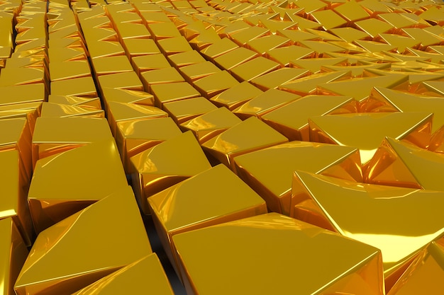 3d illustration the golden path leading to wealth and success. square shapes composition geometric. yellow metal cubes arranged randomly. wires pattern of infrared heater.