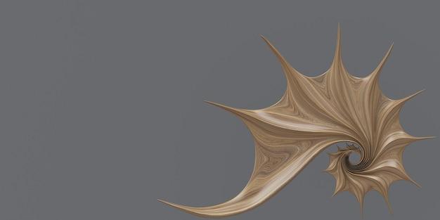3d 삽화 황금 비율 노틸러스 껍질 피보나치 대칭 나선 구조 성장