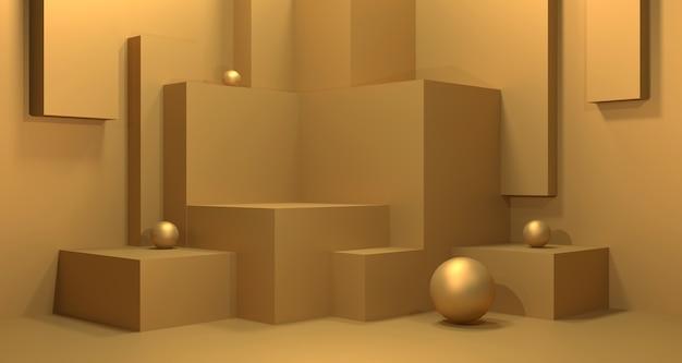 3d illustration of golden showcase.