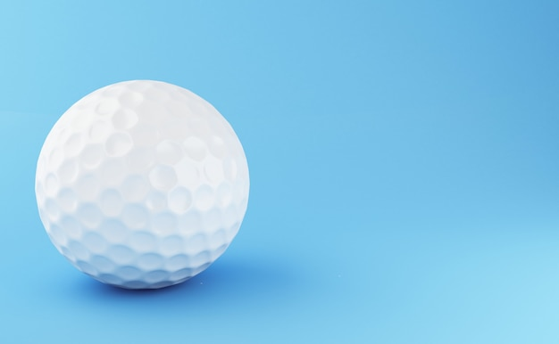 3d illustration. golf ball on blue background. sports concept.