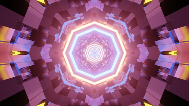 3d illustration of graphic abstract kaleidoscope pattern with colorful neon lights glowing in dark tunnel