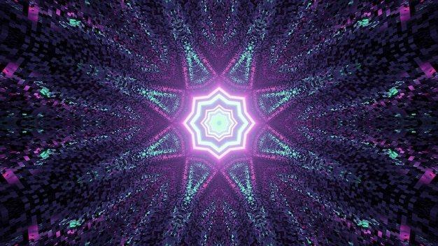 3d illustration of graphic mosaic pattern with glowing star shaped abstract ornament in dark tunnel