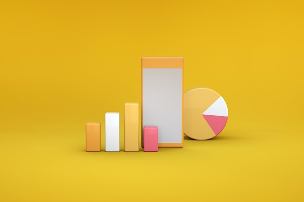 3d illustration of graphs and diagrams on a yellow isolated background. 3d illustration of objects and 3d orange icons on an isolated background. statistics, charts, graphs, reports.