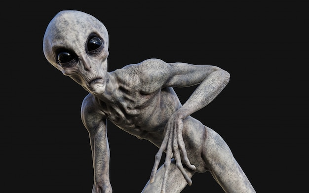 3d illustration of a gray alien on dark background with clipping path.