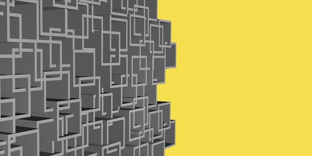 3dイラスト灰色の正方形のフレーム複雑な黄色の抽象的なシーン広告の言葉