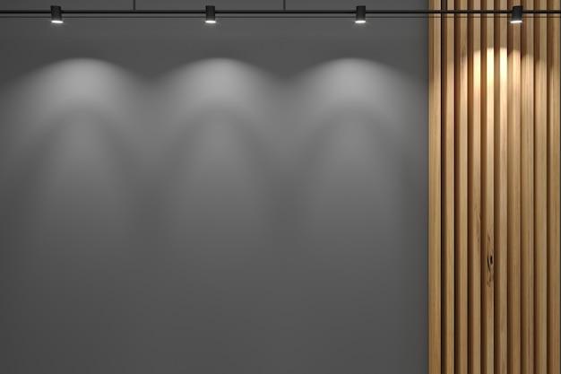 3d иллюстрации. серая стена ресепшн и декор из доски.