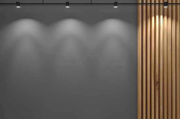 3d illustration. gray wall of the reception and decor from the board.