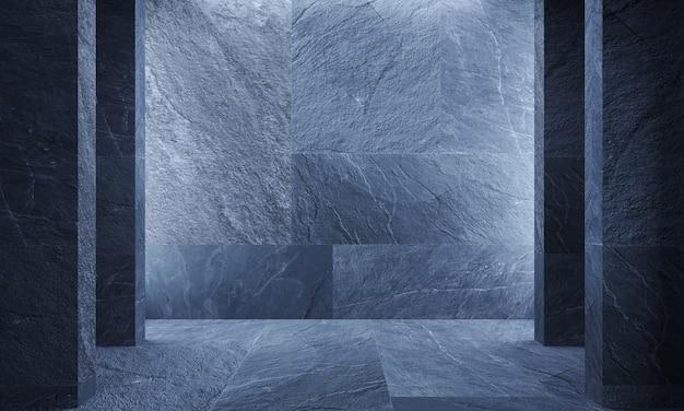 3dイラスト。灰色の壁の石の大理石の花崗岩のスレート