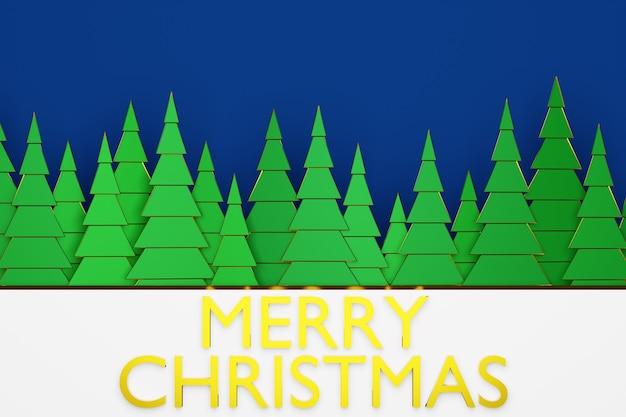 大きな雪の吹きだまりとメリークリスマスのレタリングと冬の森の3dイラスト緑の針葉樹。折り紙風のクリスマスツリー