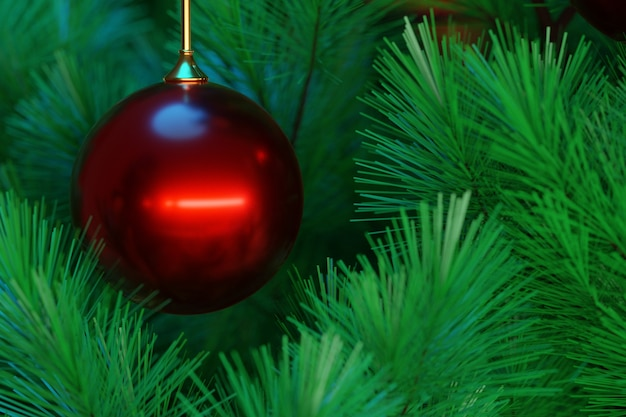 3d illustration green coniferous trees with red ball . christmas card with an empty field for filling and a christmas tree in a natural style