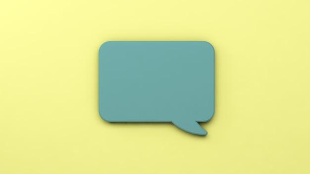 3dイラスト。孤立した黄色の背景に緑の吹き出し。コミュニケーションの概念。