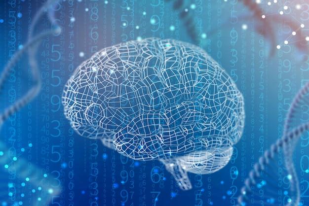 디지털 두뇌의 3d 일러스트 그리드입니다. 인공 지능과 마음의 무한한 가능성