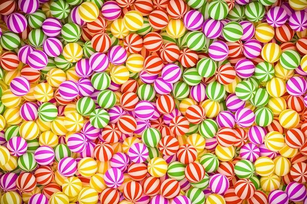 3dイラスト、グループの赤い縞模様のキャンディーボール