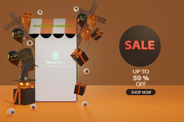 3d illustration. halloween sale promotion banner with a discount offer give voucher, banner, poster or background, paper art and craft style, online shopping concept.