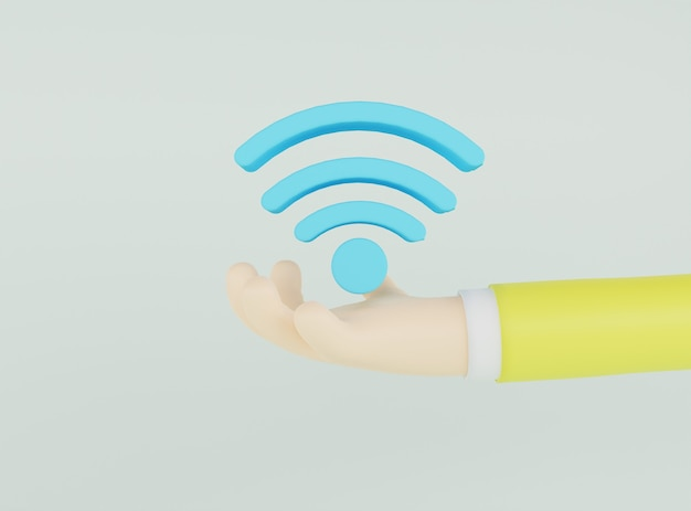 3d illustration hand holding blue network icon on light green background