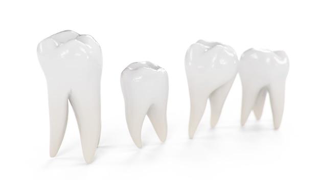 Иллюстрация 3d здоровые зубы, изолированные на белом фоне. набор зубов.
