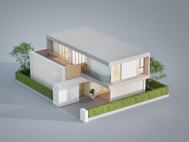 住宅の3dイラスト高角度ビュー