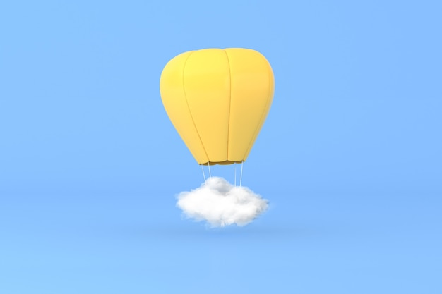 3d illustration of hot air balloon with white cloud on blue background.