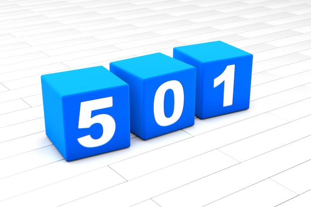 3d illustration of the html error code 501