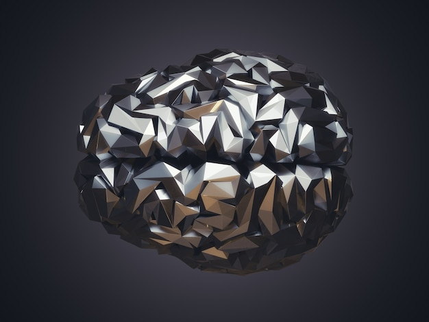 3d illustration of human low poly brain made of metal. ai concept