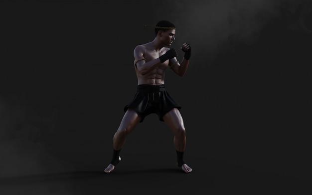 クリッピングパス、キックボクシング、筋肉マンの暗闇で3 dイラスト人間武道スポーツトレーニング。